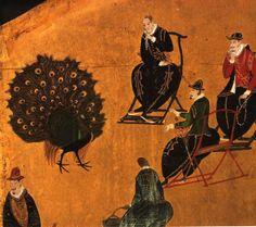 Edo Period Artist (Kano School)  Nanban Screen (detail), Portuguese Viewing a…