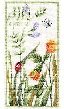 free cross stitch pattern, plants and ladybug