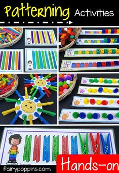 Fun patterning centers for kids in preschool and kindergarten. Use everyday materials like pegs, popsicle sticks, cubes and pom poms. - Kids education and learning acts Kindergarten Centers, Math Centers, Activity Centers, Patterning Kindergarten, Math Patterns, Teaching Patterns, Preschool Activities, Preschool Learning Centers, Preschool Homework