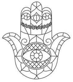 sketched hamsa urban threads unique and awesome embroidery designs Paper Embroidery, Learn Embroidery, Embroidery Patterns, Ying Yang, Hamsa Art, Hamsa Design, Wood Burning Crafts, Unique Drawings, Urban Threads
