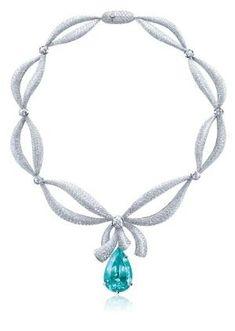 Paraiba Tourmaline with Diamond Necklace Paraiba Pary Time! by deana Bow Necklace, Diamond Pendant Necklace, Diamond Jewelry, Gemstone Earrings, Gems Jewelry, High Jewelry, Jewelry Necklaces, Jewellery, Jewelry Stores