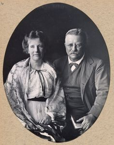 Studio portrait of Edith and Theodore Roosevelt taken in 1917. From the Roosevelt family scrapbooks, Library of Congress Prints and Photographs division.