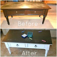 Coffee Table, Chalkboard Paint, DIY,