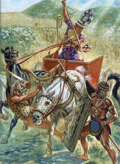 Mycenaean chariot in battle outside the Walls of 'Golden Mycenae' during the late Greek Bronze Age. Art by Giuseppe Rava Greek History, Ancient History, European History, American History, Military Art, Military History, Ancient Troy, Ancient Aliens, Minoan Art