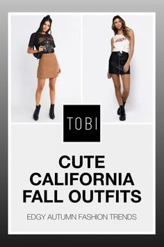 Cute California fall outfits and trendy autumn ready to wear attire for women from TOBI. The best place to buy affordable trendsetting edgy clothing like these cute skirts and tops for ladies. Shop top fall fashion trends for teens, women, and juniors. #shoptobi #fallfashion #falltrends #falloutfits #autumnfashion #womensfashion #californiafashion #readytowear #readytowearoutfits Autumn Fashion Women Fall Outfits, Fall Fashion Trends, Fashion 2017, Trendy Fashion, Edgy Outfits, Fashion Outfits, Edgy Clothing, California Fashion, Beachwear For Women