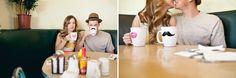 We love, love, love the old diner look of this engagement shoot at Callahan's Restaurant.  And, those mugs!