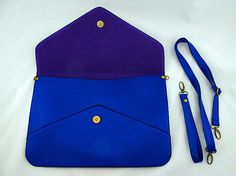Oversize Vegan Leather Envelope Clutch  Sapphire by EastWorkshop, $9.98   - - I'm going to do a few extra chores and get a raise on my allowance and buy one of each color.  Fantastic~!   Love this!