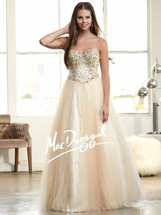 Nude and Gold Ball Gown with Sweetheart Neckline | Mac Duggal 48249H