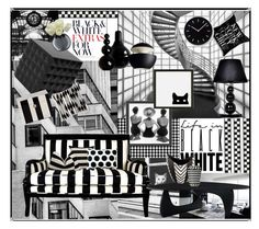 """""""Black & White"""" by marionmeyer on Polyvore featuring interior, interiors, interior design, Zuhause, home decor, interior decorating, Americanflat, Universal Lighting and Decor, Mineheart und Innermost"""