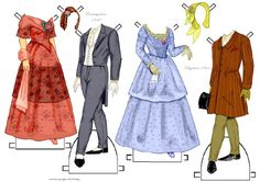 A fashionable couple of the 1840s | Gabi's Paper Dolls