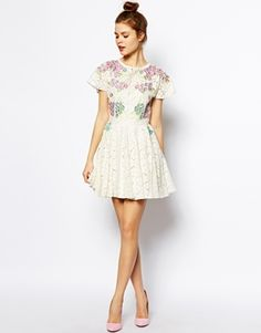 ASOS Lace Skater Dress w/ Bright Embroidery