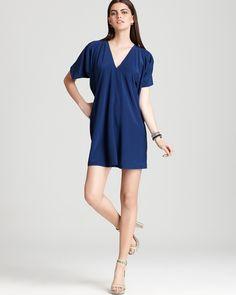 Vince V Neck Dress - Short Sleeve | Bloomingdale's