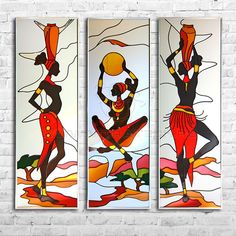 93002 African Drawings, African Art Paintings, Afrique Art, Indian Folk Art, Art Africain, African American Art, Tribal Art, Fabric Painting, Female Art