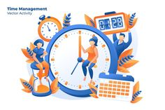 Time Management -Vector Illustration by AQR Studio on Creative Market - Top-Trends Flat Design Illustration, Funny Illustration, Business Illustration, Digital Illustration, Graphic Illustration, Vector Illustrations, Design Ios, Vector Design, Vector Art