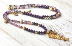 Zarte Bettelkette ★ Jade ★ LILA GOLD ★ Buddha von Juwelenkind® Schmuck-Unikate auf DaWanda.com 36.-