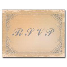 Distressed gunmetal grey vintage scroll RSVP card Postcard
