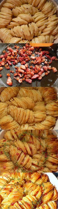 Crispy Potato Roast minus the bacon—yum! I Love Food, Good Food, Yummy Food, Tasty, Potato Dishes, Food Dishes, Side Dishes, Potato Recipes, Crispy Potatoes