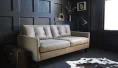 Regent 3 Seater Sofa in Selvaggio Hare with Button Effect Back