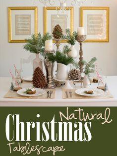 Natural Christmas tablescape via domesticfashionista.com