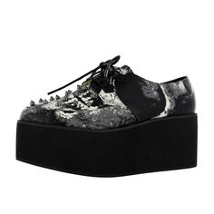 Loose Tooth platform creeper with spikes and skeleton print www.attittudeholland.nl