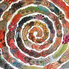 #zentangle #nofilter #picoftheday #creativity #art #artoftheday #colors #inspiration Mandala Drawing, Mandala Art, Art Therapy Projects, Art Projects, Spiral Art, Circle Art, Collaborative Art, Art Classroom, Art Club