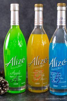 Bottles of Alizé Vodka, Green yellow and blue vodka