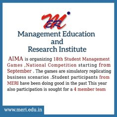 #MERICOLLEGE, AIMA is organizing 18th Student Management Games ,National Competition starting from September . The games are simulatory replicating business scenarios .Student participants from MERI have been doing good in the past This year also participation is sought for a 4 member team  #BestEngineeringCollege http://meri.edu.in/
