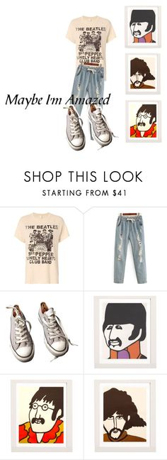 """""""I'm with the band"""" by sosofo ❤ liked on Polyvore featuring MadeWorn, Converse, comfy, bandtshirt, contestentry, bandtee and 2016"""