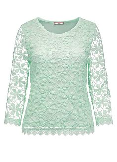 Joe Browns Our Favourite Lace Top in mint with lace sleeves