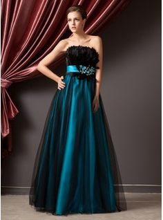 $169.99 - A-Line/Princess Strapless Floor-Length Tulle Charmeuse Prom Dress With Beading Feather Sequins  http://www.dressfirst.com/A-Line-Princess-Strapless-Floor-Length-Tulle-Charmeuse-Prom-Dress-With-Beading-Feather-Sequins-018014241-g14241