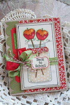 This is a gorgeous back to school card with a pretty mason jar and caramel apple stamped image.