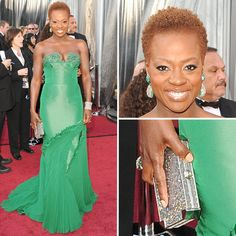Viola Davis - wearing a Vera Wang gown accessorized with a big diamond cuff, diamond clutch and emerald earrings #Oscars