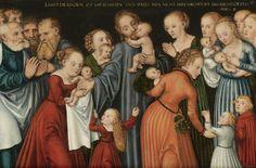 """Lucas Cranach il Giovane, """"Cristo tra i bambini"""", Olio su tavola, Firmato con monogramma, XVI secolo, 49 x 75 cm, Sotheby's casa d'aste, Asta 26 Aprile 2007, battuto a 114.000 euro.  Museo Immaginario Arti senza Tempo"""