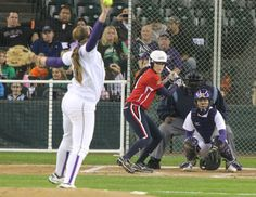 Ashley Charters of the USSSA Pride up to bat against the University of Washington at Safeco Field.