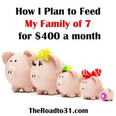 How I Plan to Feed a Family of 7 on $400 a Month.  Do you struggle in the kitchen to find frugal ways to cook for a large family?  Here are a few things I use to knock the budget down.