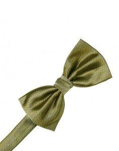 Gold Herringbone Bow Tie