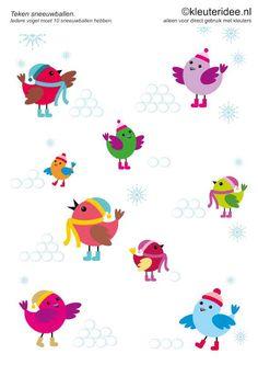 Zorg dat ieder vogeltje 10 sneeuwballen heeft, kleuteridee.nl , rekenen met kleuters, free printable.