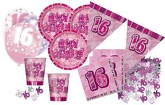 16. Geburtstag Sweet Sixteen Party Deko Komplett Set in Pink mit Glitzer