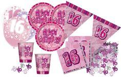 16. Geburtstag Sweet Sixteen Party Deko Komplett Set in Pink mit Glitzer