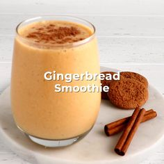 If you like ginger, you're going to love this gingerbread smoothie recipe! Clementine Smoothie Recipes, Yummy Treats, Delicious Desserts, Coffee Drink Recipes, Post Partum, Tic Tok, Hubba Hubba, Cocktails, Drinks
