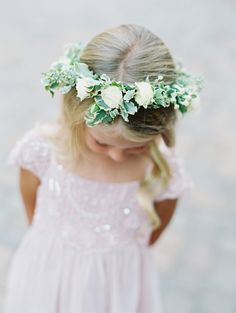 Flower girl flower crown cuteness: http://www.stylemepretty.com/2016/05/12/how-to-flower-crown-for-brides/