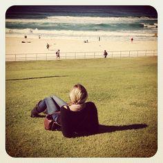 Chillin at Bondi #relaxing #view #atbondi #bondi #beach #grass #blonde #ocean #australia #sydney #waves