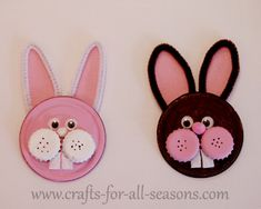Cute recycled bunnies made from soup can lids and bottle caps, by Crafts for all Seasons. Note to self it would be better to use the juice can lids no sharp edges! Diy Crafts With Cds, Cd Crafts, Bunny Crafts, Easter Crafts For Kids, Recycled Crafts, Easter Stuff, Soup Can Crafts, Jar Lid Crafts, Tin Can Crafts