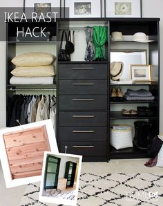 Learn how to build your own custom wardrobe using an Ikea Rast Dresser!