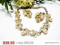 Vintage Rhinestone Leaf Demi Set - Leaves Necklace - Leaves Clip on Earrings with Pearls & Rhinestones - Vintage Brides Wedding Jewelry