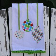 Christmas ornament applique tea towel
