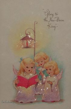 Vintage Eve Rockwell Christmas Greeting Card Angels