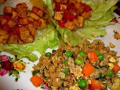 Unfried Fried Rice and Lettuce Wraps with Hoisin-Mustard Tofu, recipes from Isa Chandra Moskowitz's Appetite for Reduction.