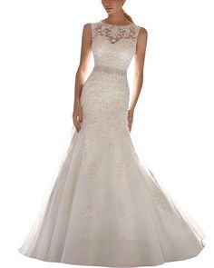 b64a569589 Wedding Dresses - ScelleBridal Latest Sleeveless Lace Appliques Mermaid  Bridal Dress Wedding Gown at Women s Clothing store