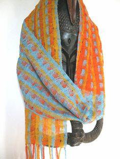 SALE Handwoven Scarf Silk Triple Weave by tisserande on Etsy